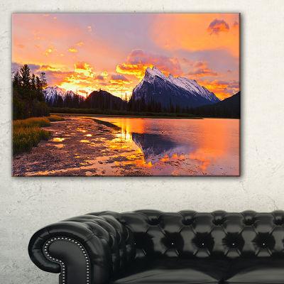 Designart Sunset Above Vermilion Lakes Canvas Art