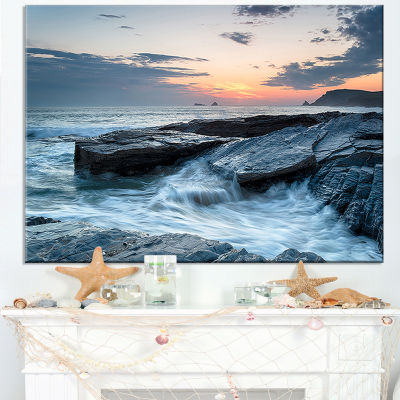 Designart Sunset And Waves At Booby S Bay Canvas Art