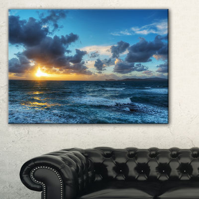 Designart Sunset At Alghero Under Dramatic Sky Canvas Art