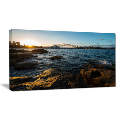 Designart Sunset At Opera House Sydney Canvas Art