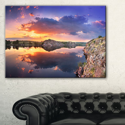 Designart Sunset At River With Large Clouds Canvas Art