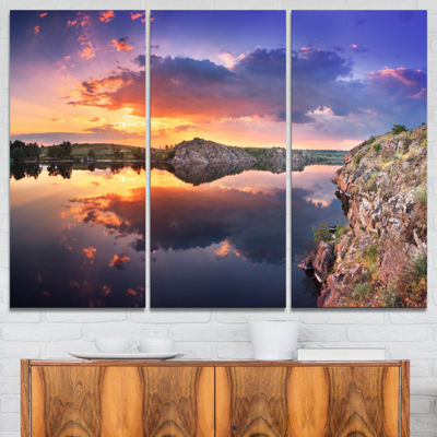 Designart Sunset At River With Large Clouds 3-pc. Canvas Art