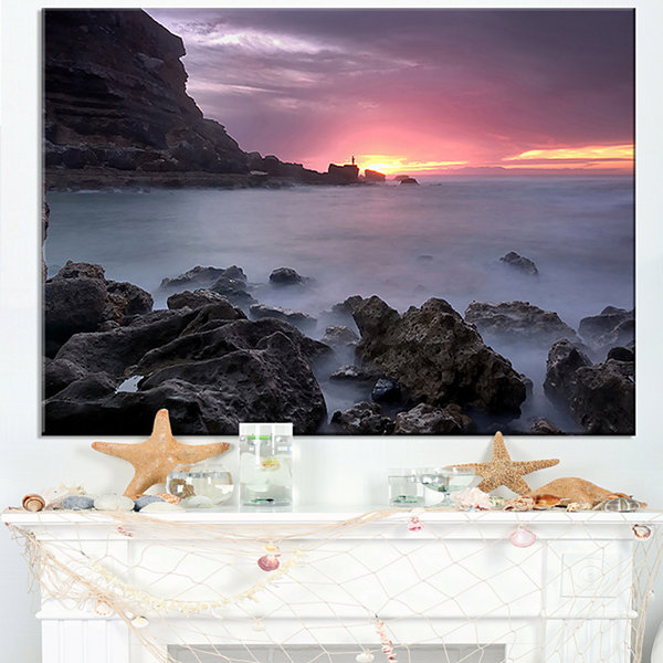 Designart Sunset At Samarra Seashore Sintra Canvas Art