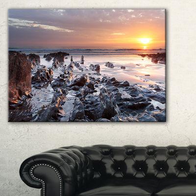Designart Sunset At Woolacombe Bay Devon Uk Canvas Art