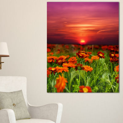 Designart Sunset Flowers With Red Sky Canvas Art