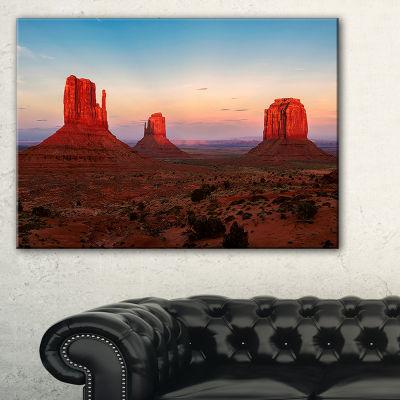 Designart Sunset In Monument Valley Canvas Art