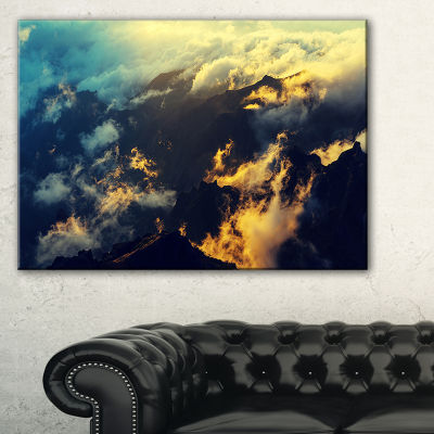 Designart Sunset On Hill Above Clouds Canvas Art