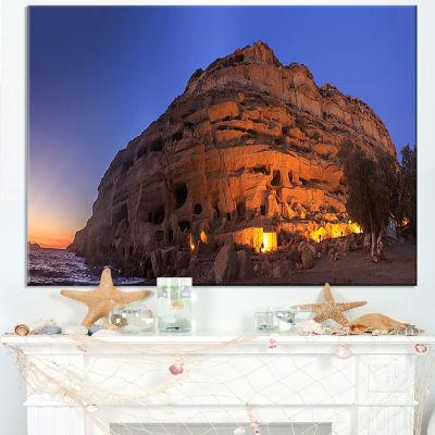 Designart Sunset On The Matala Beach Greece Canvas Art