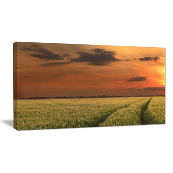 Designart Sunset Over A Field Of Cereals Canvas Art