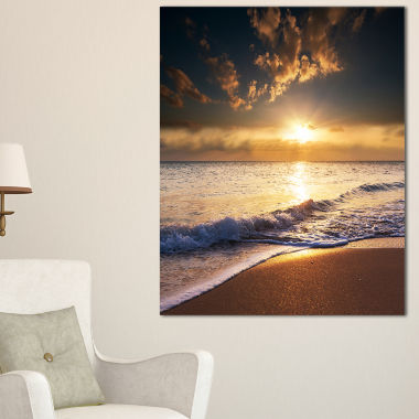 Designart Sunset Over Foaming Waves Canvas Art