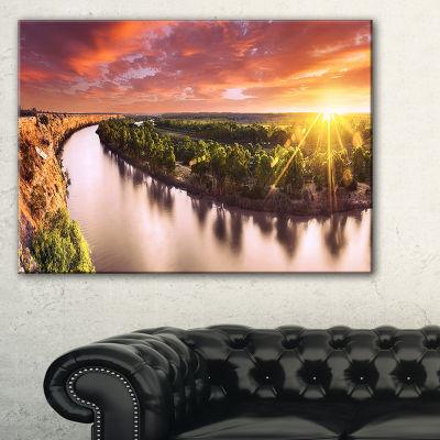 Designart Sunset Over Murray River Panorama Canvas Art