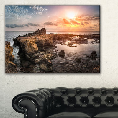 Designart Sunset Over Rocky African Coast Canvas Art
