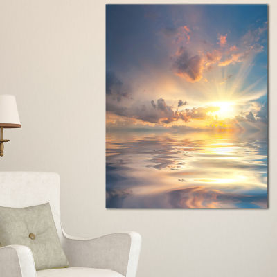 Designart Sunset Over Sea With Reflection Canvas Art