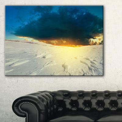 Designart Sunset Over Snowbound Prairie Canvas Art