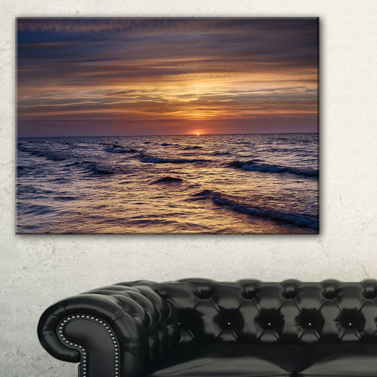 Designart Sunset Over The Baltic Sea Canvas Art