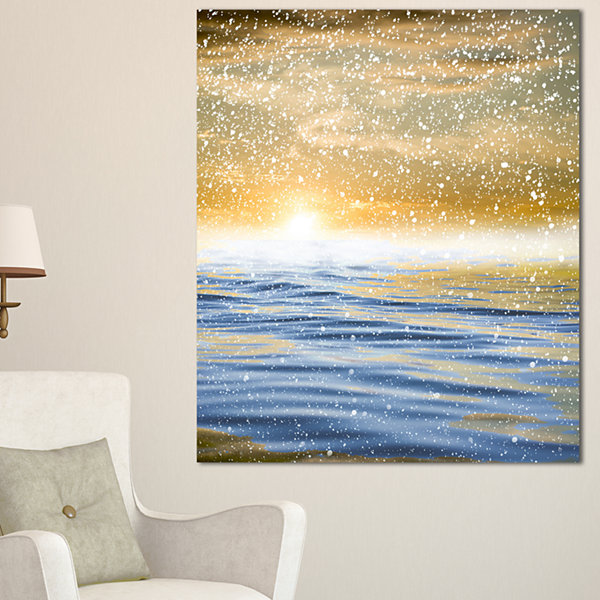 Designart Sunset Over The Sea With Snow Canvas Art