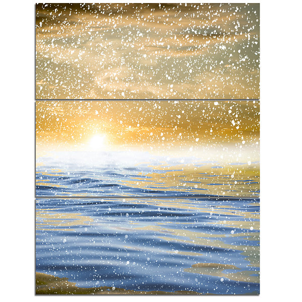 Designart Sunset Over The Sea With Snow 3-pc. Canvas Art