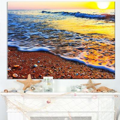 Designart Sunset Reflecting In Blue Waves Canvas Art