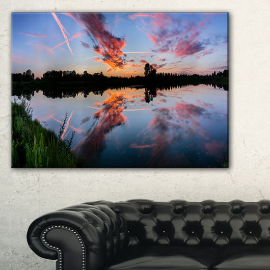 Designart Sunset Sky Mirrored In Lake Water Canvas Art