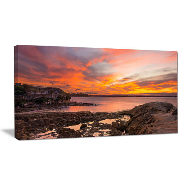 Designart Sunset Sky Panoramic Sydney View Canvas Art