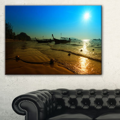 Designart Sunset With Boats In Andaman Sea Canvas Art