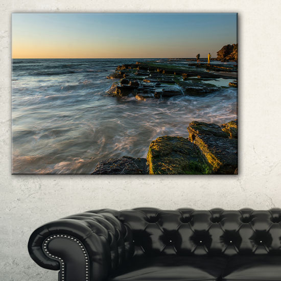 Designart Sydney Beach With Mossy Rocks Canvas Art