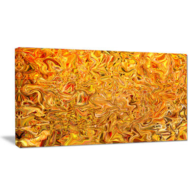 Designart Textured Flowing Yellow Canvas Art