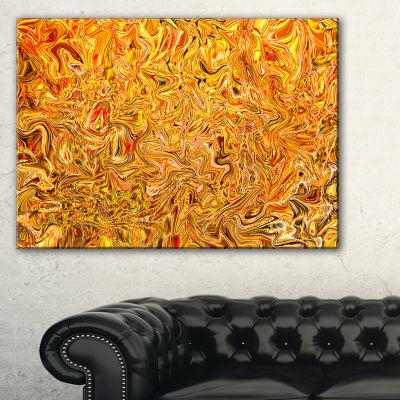 Designart Textured Flowing Yellow 3-pc. Canvas Art