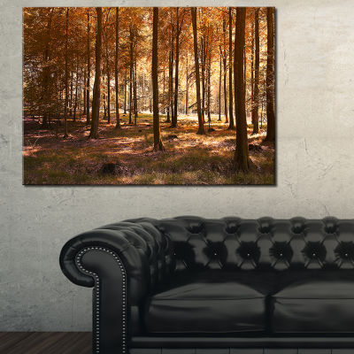 Designart Thick Fall Forest With Orange Leaves Canvas Art