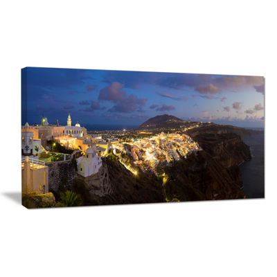 Designart Thira Santorini Greece Panorama Canvas Art