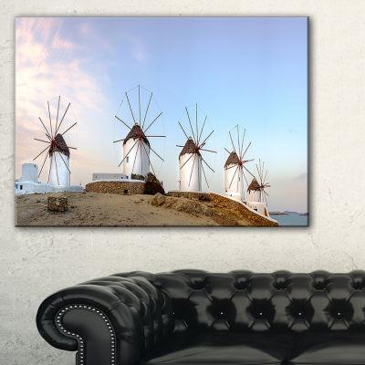 Designart Traditional Greek Windmills Panorama Canvas Art