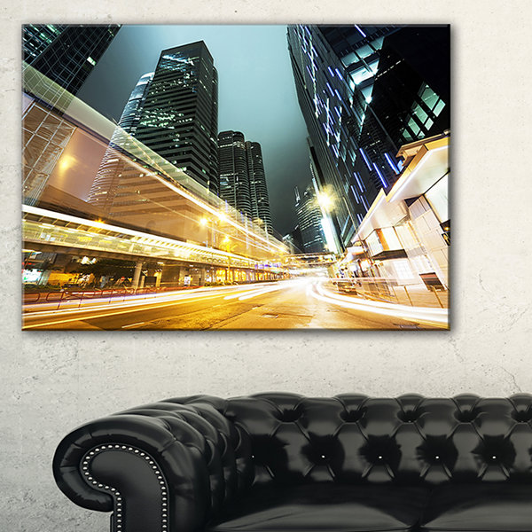 Designart Traffic In Hong Kong At Night Canvas Art