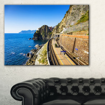Designart Train And Railroad Station In Manarola Canvas Art