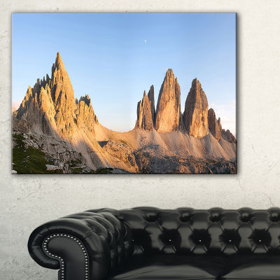 Designart Tre Cime And Monte Paterno At Sunset Canvas Art