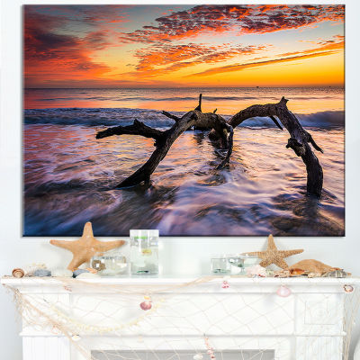 Designart Tree And Waves In The Atlantic Ocean Canvas Art