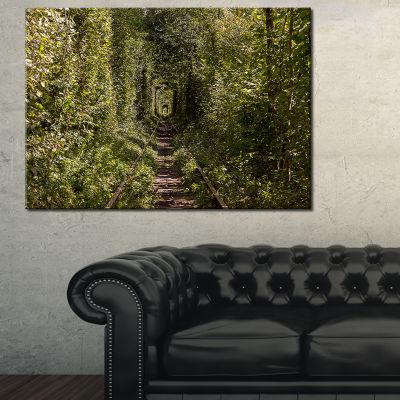 Designart Tree Rail Tunnel In Forest Canvas Art