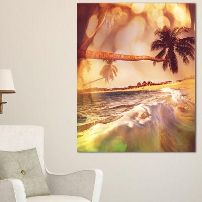 Designart Tropical Beach With Bent Coconut Palms Canvas Art