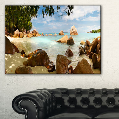 Designart Tropical Rocky Beach Panorama Canvas Art