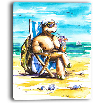 Designart Turtle Enjoying Holidays On Beach Canvas Art