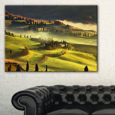 Designart Tuscany Farmland And Cypress Trees Canvas Art