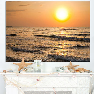 Designart Typical Sunrise With Tranquil Waves Canvas Art