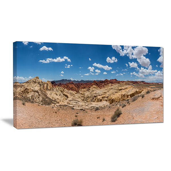 Designart Valley Of Fire Landscape Panorama Canvas Art