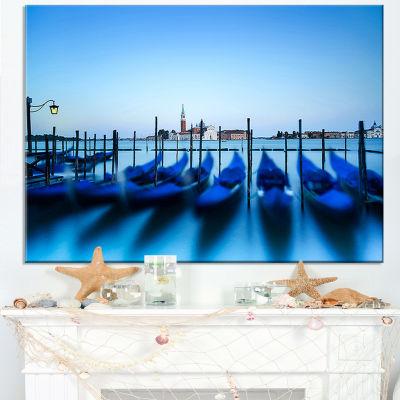 Designart Venice Gondolas At Blue Sunset Canvas Art