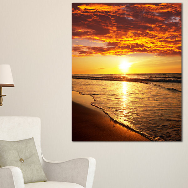 Designart Vibrant Yellow Sun And Calm Waves Canvas Art