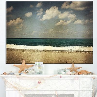 Designart Vintage Beach With Heavy Clouds Canvas Art