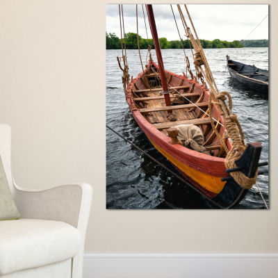 Designart Vintage Wooden Boat Canvas Art