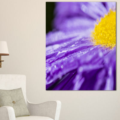Designart Large Violet Flower Petal Close Up Canvas Art