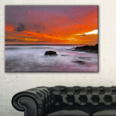 Designart Vividly Colorful Tropical Beach At Sunset Canvas Art