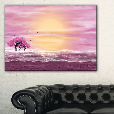 Designart Water And Pink Trees In Desert Canvas Art