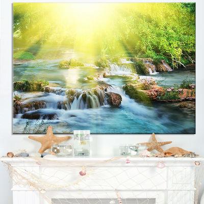 Designart Water Cascade Under Shiny Sun Canvas Art